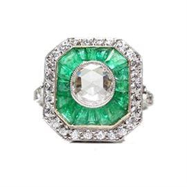 Platinum & Emerald Diamond Ring