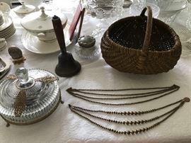 Old Covered Dish, Old Bell, Old Basket, Old Brass Bead Necklaces
