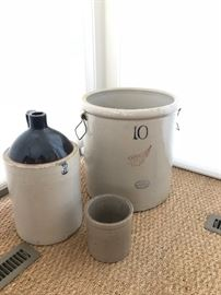 3 Gallon Stoneware Jug, 10 Gallon RedWing Crock & Red Wing Stoneware Crock