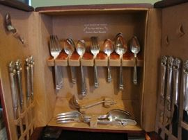 Silver-plate Flatware Set in Upright Storage Box
