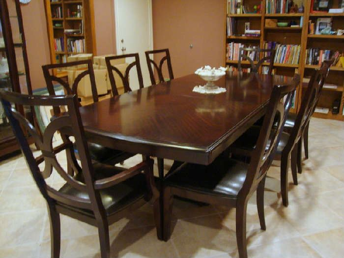 Large Dining Table with Leaf, an 8 Chairs