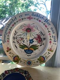 Norwegian Hand  Painted Wooden Plate