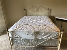 Full size bed and frame. Serta mattress. Frame is 60 years old and mattress is nearly new and firm. Mattress has been protected with waterproof cover.