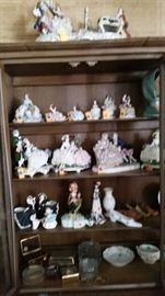 "Dresden porcelain lace figurines-miniature to largest about 21"" on top of hutch,  other collectible porcelains"
