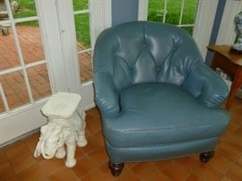 Blue faux leather chair (some wear)