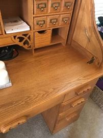 Roll top desk with swivel matching Oak chair