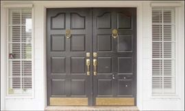 Double Entry Doors with Transoms