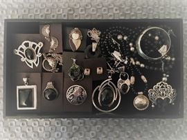 Vintage sterling silver jewelry, most pieces with onyx, all 50% off!