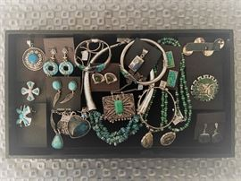 Sterling silver jewelry, a combination of vintage and newer including Native American and designer Sajen, all 50% off!