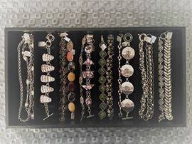 Sterling silver bracelets and a couple of necklaces, a combination of vintage and newer, all 50% off!