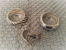Fabulous sterling silver bracelets - the bangles are handcrafted from Israel, the cuff from Mexico, all 50% off!