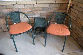 Green Outdoor Chairs And Table