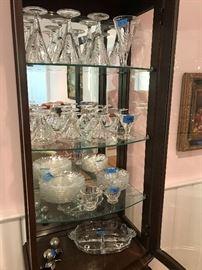 curio with glassware