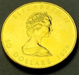 Lot 3 1979 Fifty Dollar Elizabeth II Canada Gold Coin.