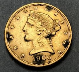 Lot 4 1906 US Liberty Gold Coin.