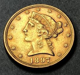 Lot 8 1897 Five Dollar Liberty Head American Gold Coin.