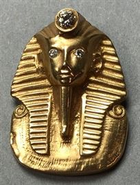 Lot 9 Custom Egyptian Sphinx 14K Gold Pendant. Diamond