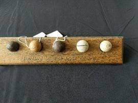 History of golf ball wodden tray five balls