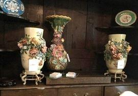 Barbotine vases