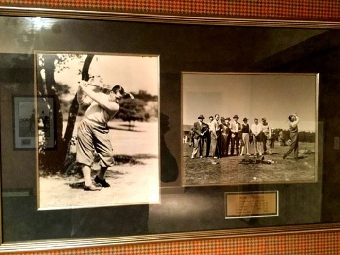 Large  photo of Bobby JoNed framed with group photo that includes several other golf pros.