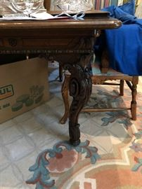 "Very Fine Antique French Dining table  51"" x 132"" with (2) 27"" leaves"
