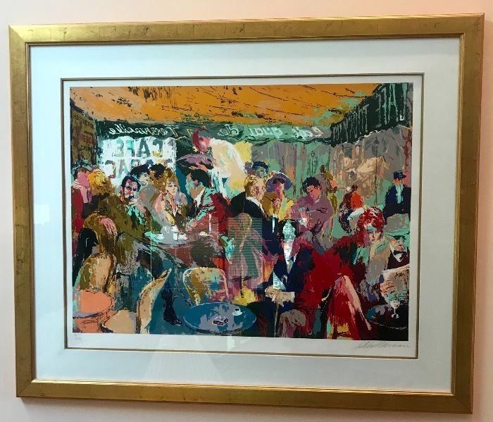 Large stunning Signed and Numbered LeRoy Neiman, French Cafe' Paris Lithograph.  Numbered  72/270. Also the original invitation from Timothy Yarger & LeRoy Neiman for the exclusive preview of the The Culinary Arts exhibition at the Regent Beverly Wilshire Hotel on 10/16/98.
