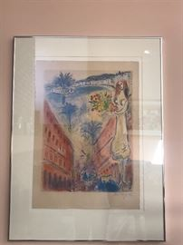Marc Chagall Signed and Numbered Lithograph titled Avenue De La Victoraire a Nice.  Numbered 59/150