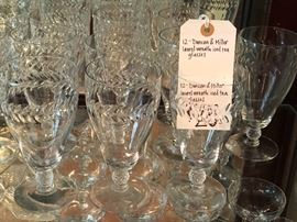 """Set of Duncan & Miller Crystal """"Laurel Wreath"""" polished cut stemware,  12 iced tea goblets for $25.00"""