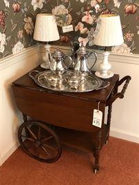 Colonial style cherry tea cart  $75