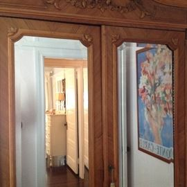 "Louis the XVI Armoire with mirror doors, only 12"" deep"