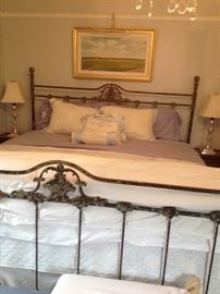 King size iron bed by Corsican, beautiful distressed finish