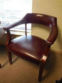 $165 each  Burgundy leather side chairs (2 available)