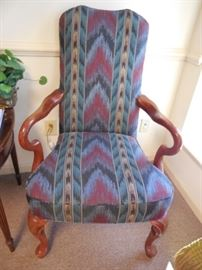 $145 each Flame stitch arm chairs with QA legs (2 avail)