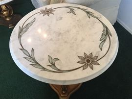 Gorgeous marble top with in lay coffee and two end tables