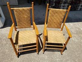 Antique Handmade Children's Rocking Chairs Pair
