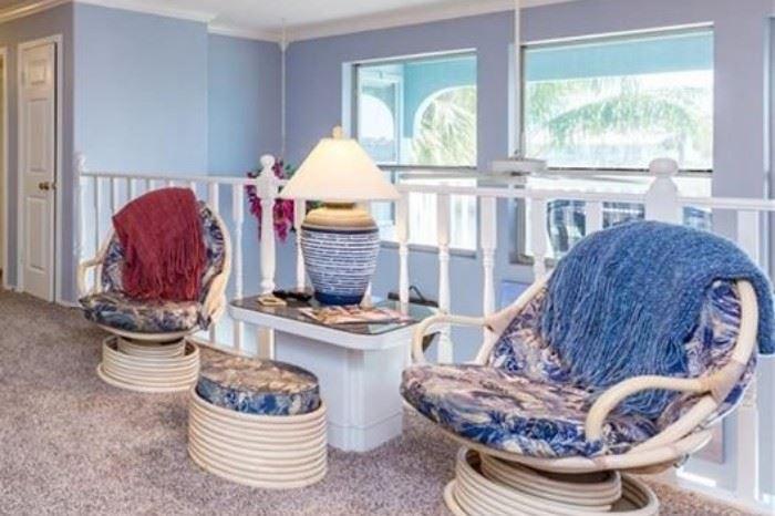 Fun Bamboo rocking chairs and modern table