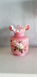 beautiful pair of antique cased glass vases