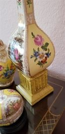 gorgeous pair of Dresden lamps