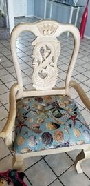 pair of matching side chairs seashell upholstery