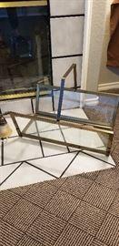 Stunning glass and brass modern magazine rack originally paid $250