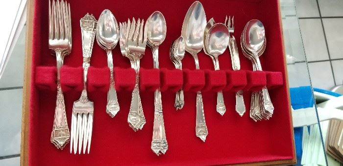 8pc place setting sterling silver flatware Lansdowne by Gorham