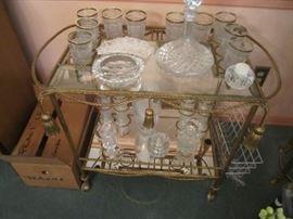 TEA CART AND GLASSWARE