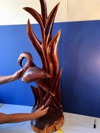 Hand Carved Flamingo Wood Sculpture