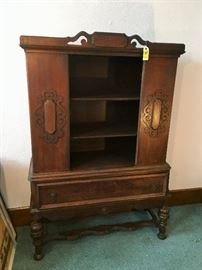 Antique Cabinet with Stretcher Bottom