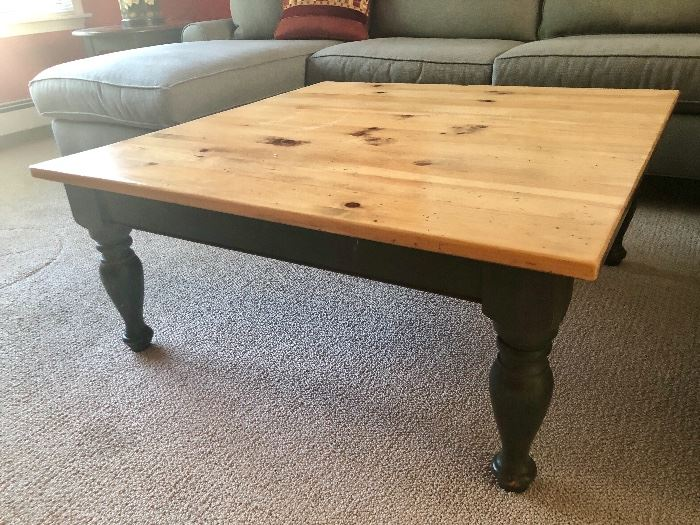 Pine and Painted Pottery Barn Coffee Table