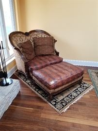 Chair and ottoman.
