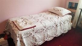 Twin bed and bedding