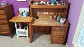 Ok desk with attachment board for extra room,  caulk board, light, 3 drawers.