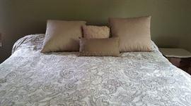 King bedding- reversible duvet,  4 pillows  $50