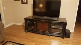 Presitin Ridge  TV stand.  High quality. 3 compartments.  $500  Matching pieces: end table and coffee table. $500